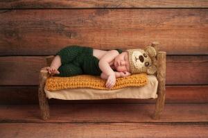 Newborn Baby Boy in a Teddy Bear Costume